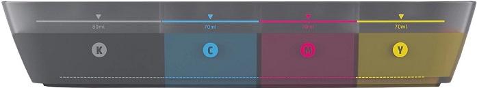 Foco lateral no tanque de tinta transparente da InkTank